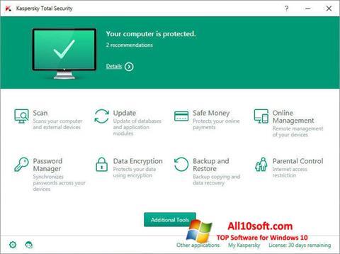 スクリーンショット Kaspersky Total Security Windows 10版