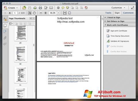 スクリーンショット Adobe Acrobat Windows 10版