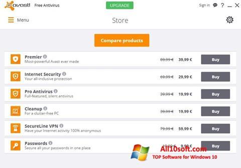 スクリーンショット Avast Free Antivirus Windows 10版