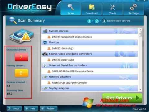 スクリーンショット Driver Easy Windows 10版