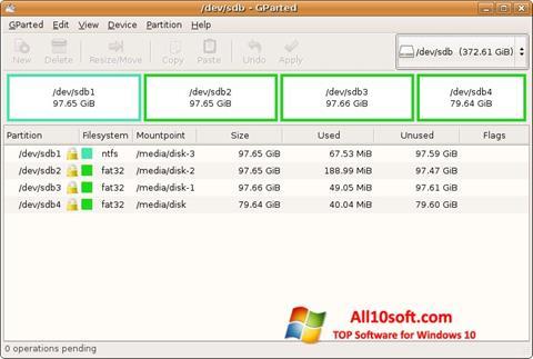 スクリーンショット GParted Windows 10版